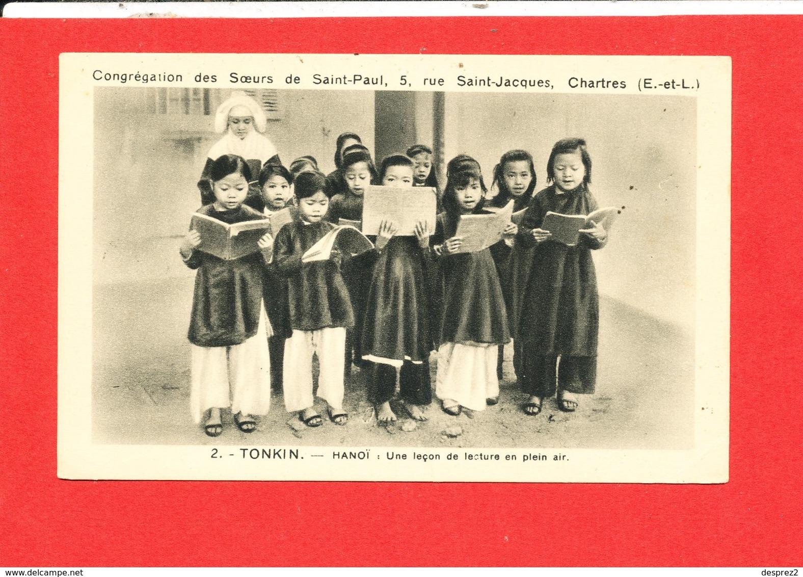 TONKIN HANOI  Cpa Animée Une Leçon De Lecture En Plein Air  2  Cong St Paul Chartres - Vietnam