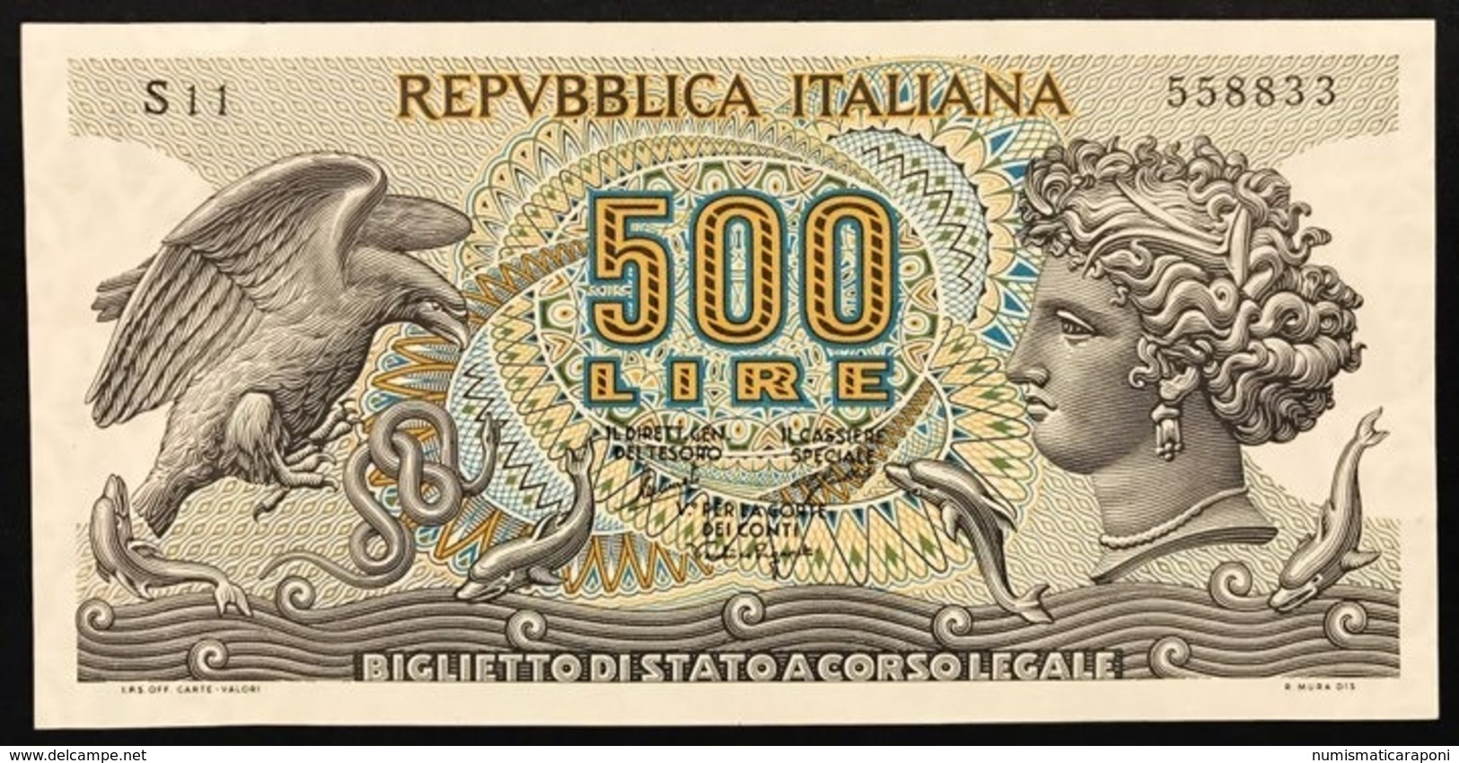 500 LIRE ARETUSA 20 06 1966 SUP S11 558833 LOTTO 496 - 500 Lire