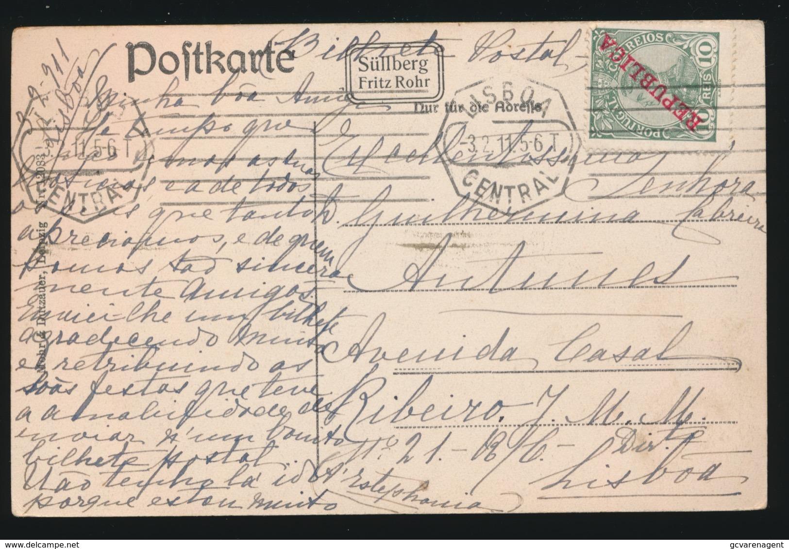 PORTUGAL   POSTCARD   10 REIS  REPUBLICA  - BLANKENESE - Lettres & Documents