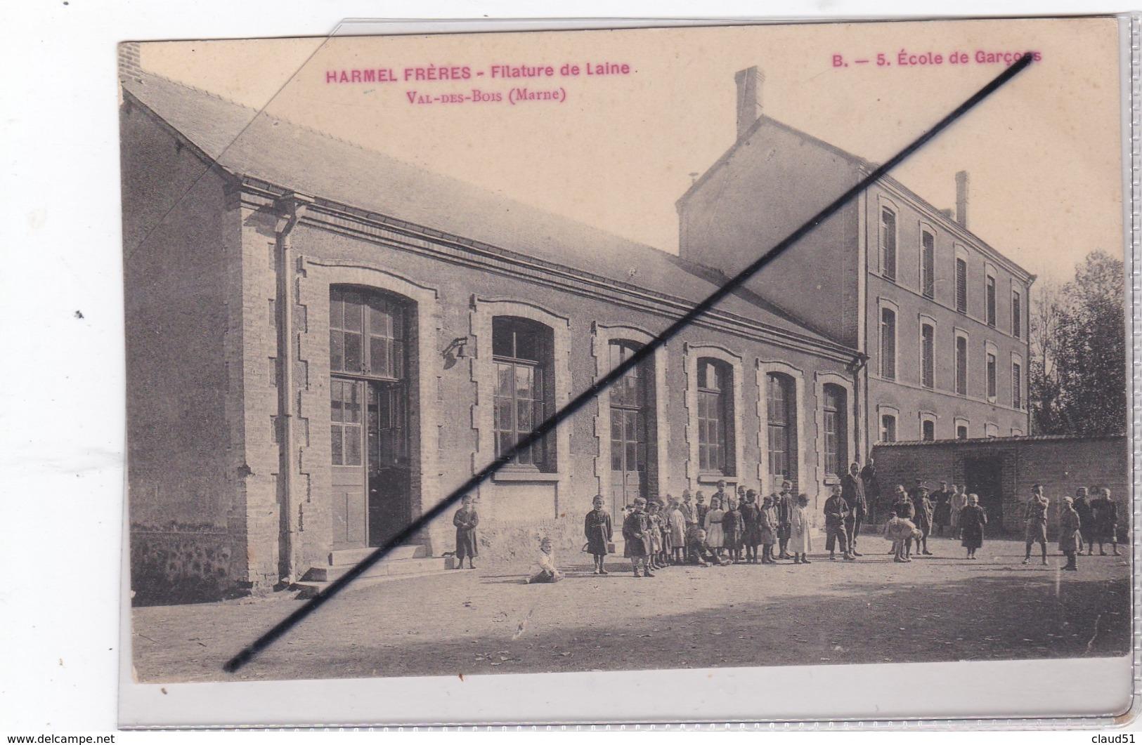 Val Des Bois (51) Harmel Frères - Filature De Laine .Ecole De Garçon (environs De Warmeriville.) - Unclassified