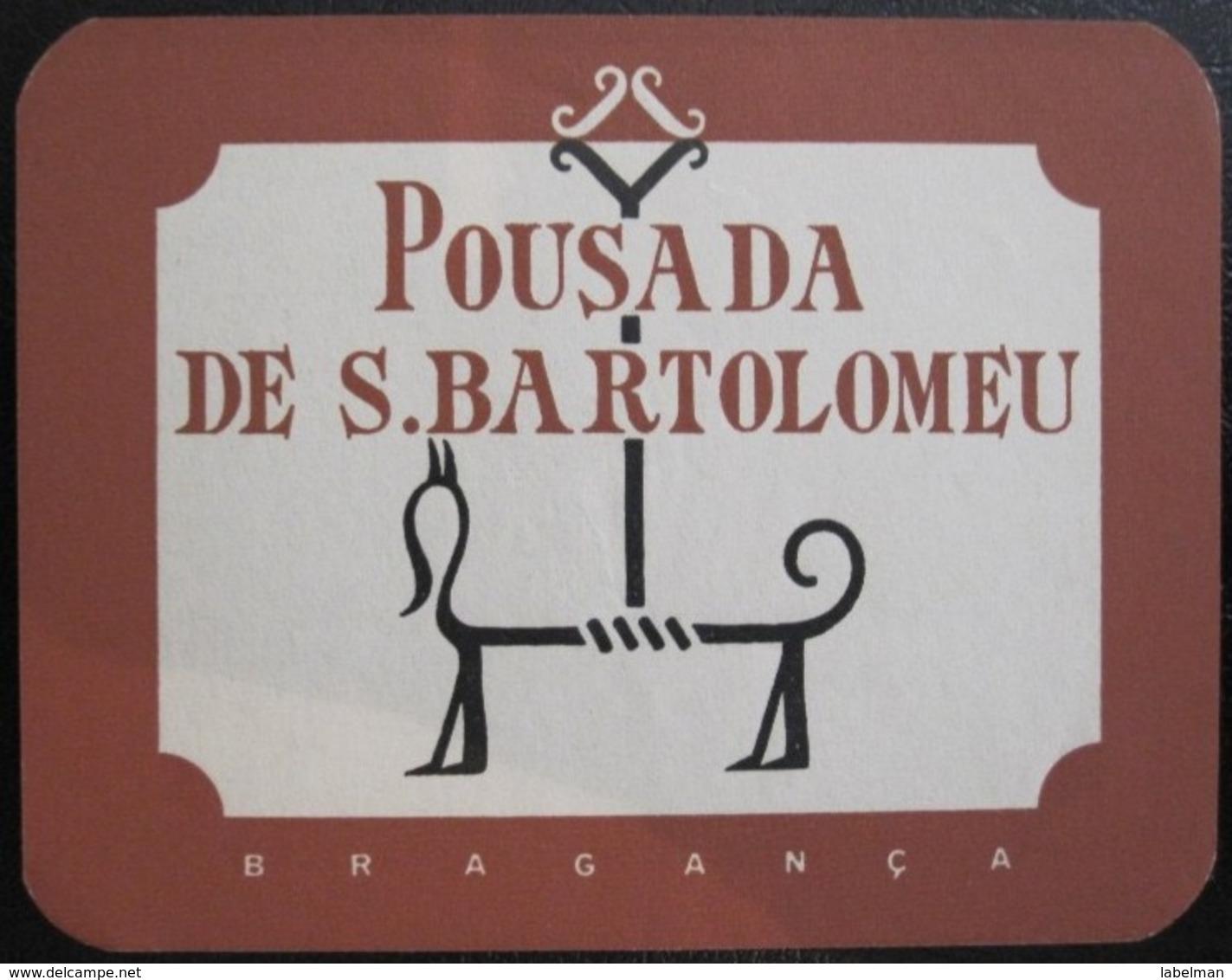 HOTEL PENSAO RESIDENCIAL PENSION BARTOLOMEU BRAGANCA TAG DECAL STICKER LUGGAGE LABEL ETIQUETTE AUFKLEBER PORTUGAL - Hotel Labels
