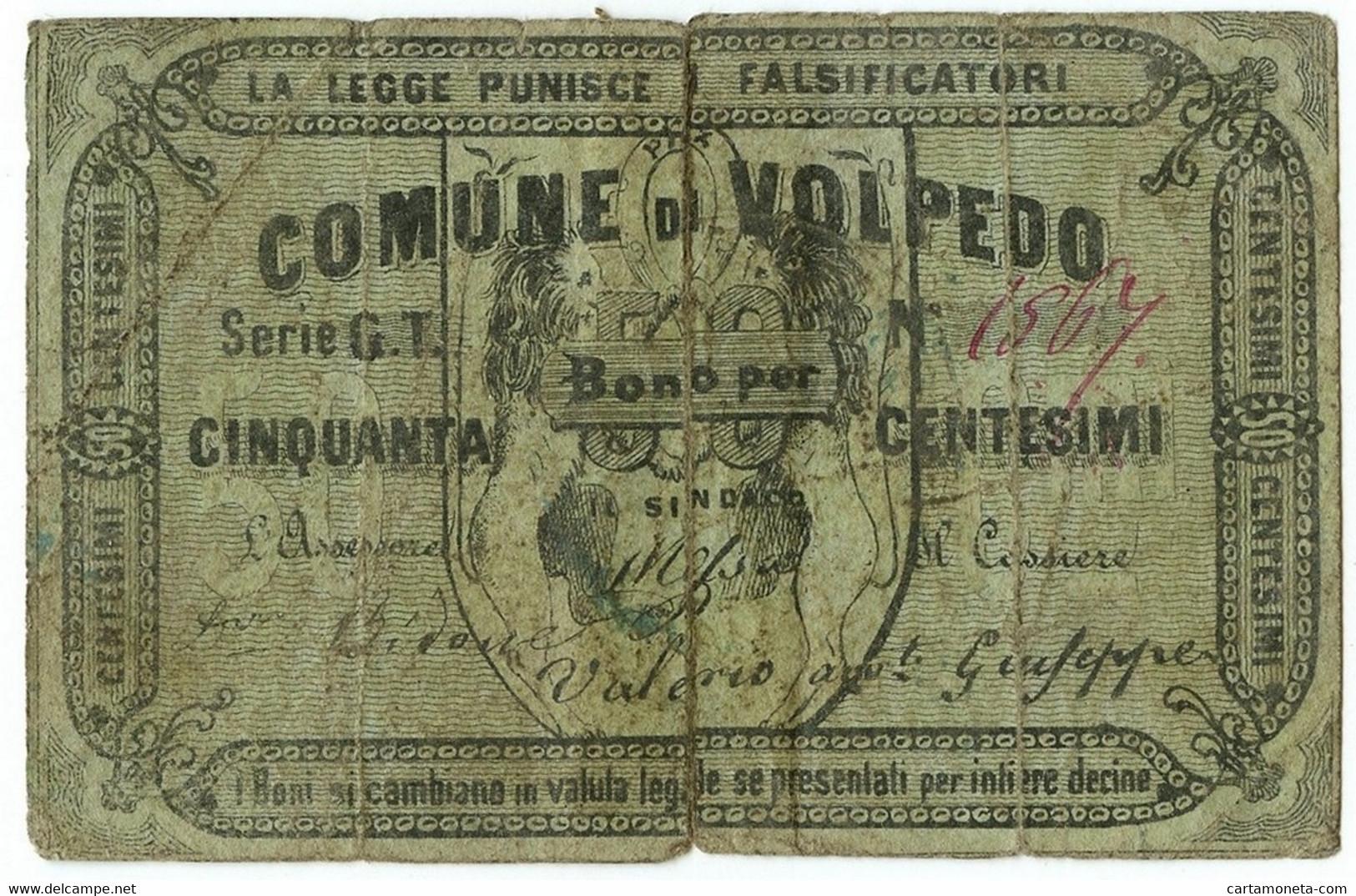 50 CENTESIMI BIGLIETTO FIDUCIARIO COMUNE DI VOLPEDO MB/BB - [ 1] …-1946 : Regno