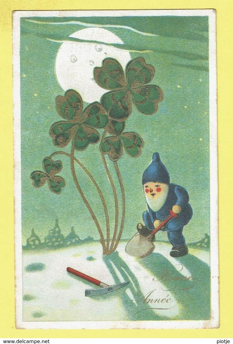 * Fantaisie - Fantasy - Fantasie * (4645-2) Bonne Année, Kabouter, Dwarf, Gnome, Gnomo, Lune, Moon, Trèfle, Klaver - Nieuwjaar