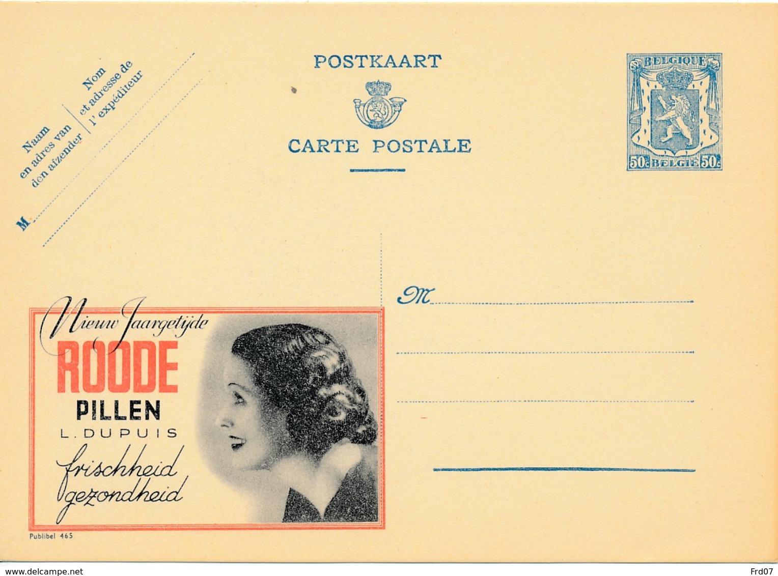 Publibel 465 Roode Pillen, Femme - Stamped Stationery