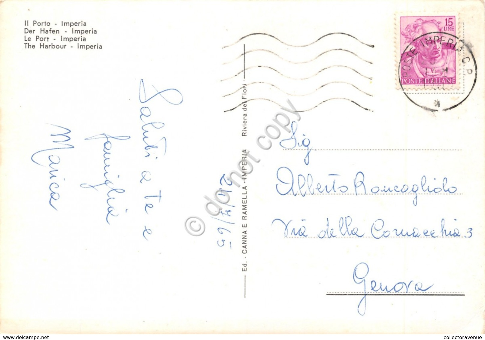 Cartolina Imperia Porto 1965 - Imperia