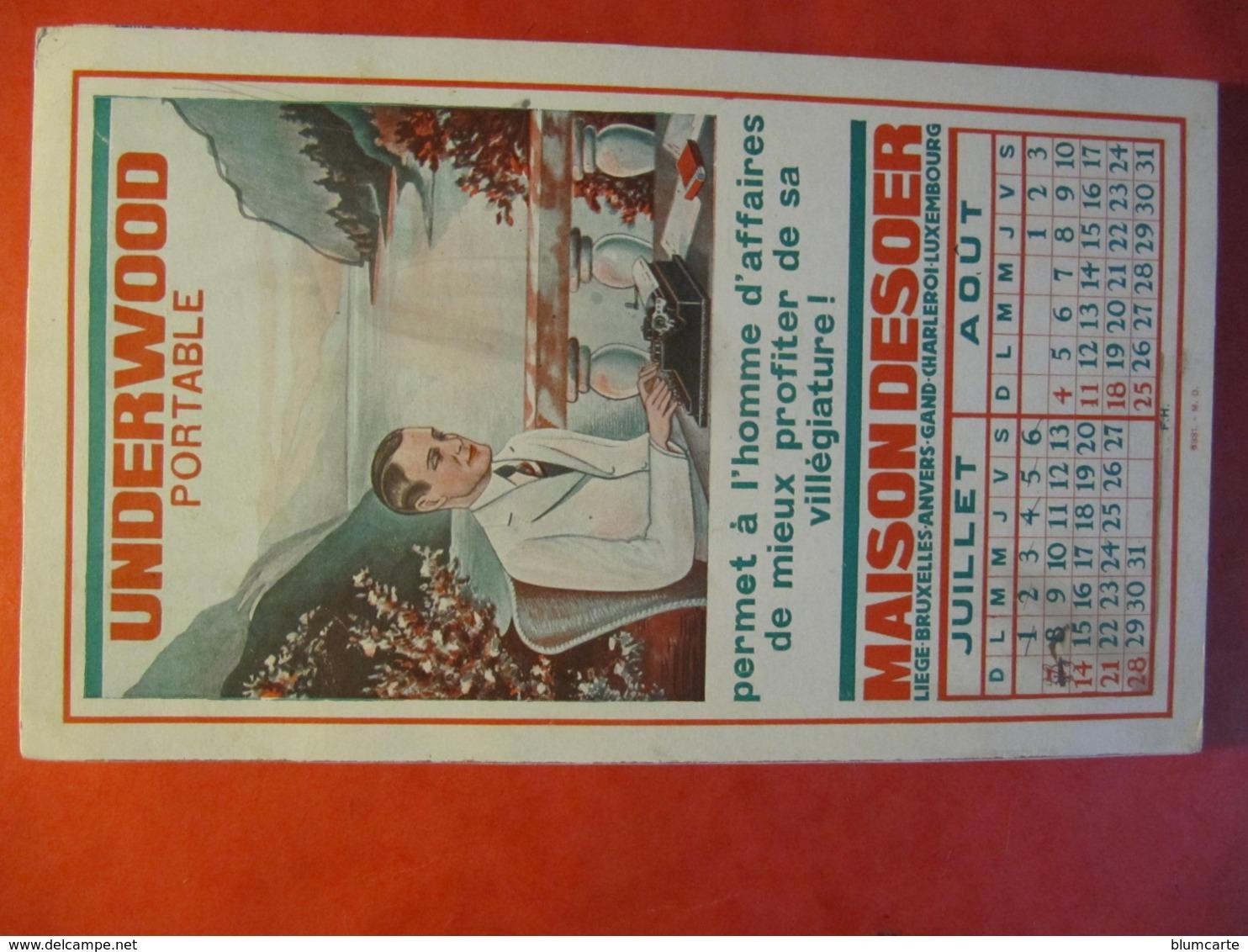 BUVARD - UNDERWOOD PORTABLE - MAISON DESOER - LIEGE - BRUXELLES... - Format : 21 X 13 Cm - Blotters