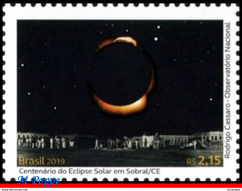 Ref. BR-V2019-07-F BRAZIL 2019 SCIENCE, SOLAR ECLIPSE IN SOBRAL,, ALBERT EINSTEIN, RELATIVITY, SHEET MNH 24V - Brasilien