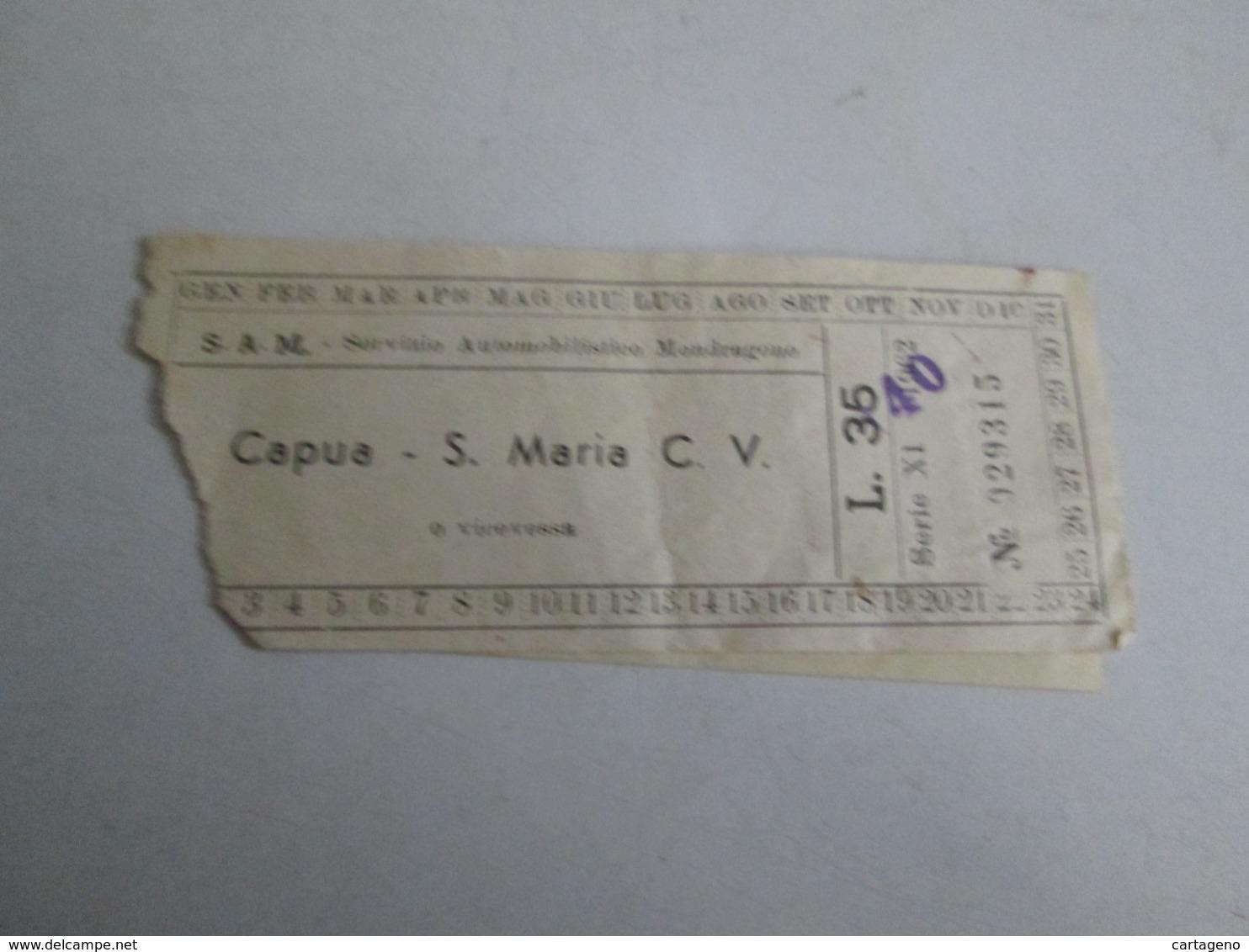 S.A.M Biglietto Da Lire 35  Capua-santa Maria Capua Vetere E Viceversa Con Marca Da Bollo - Europa