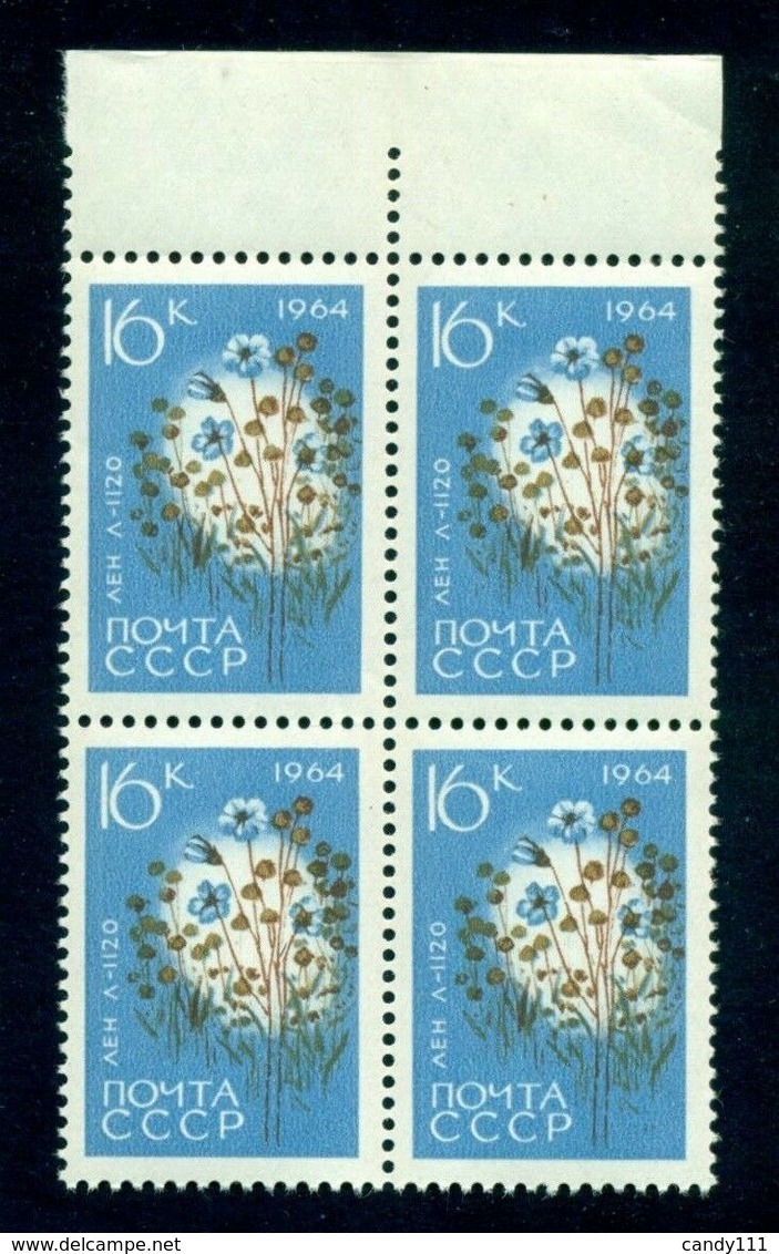 1964 Flax,linseed,Flachs/Linum Usitatissimum,Russia,2928 A,MNH/x4 - Vegetales