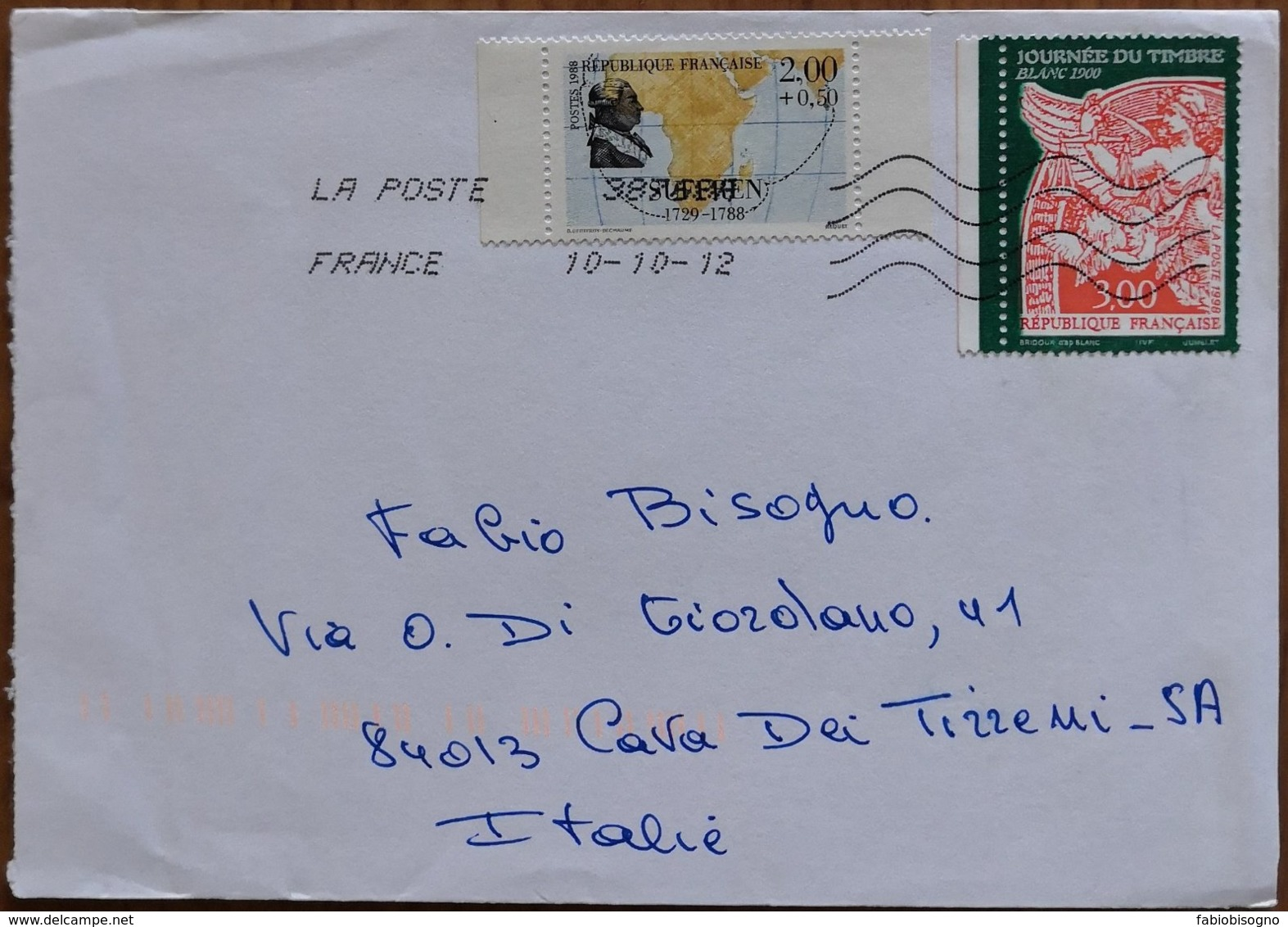 2012 France - Suffren 2.00+0.50 Journee Du Timbre 3.00 - Used Stamps On Cover To Italy - Frankrijk