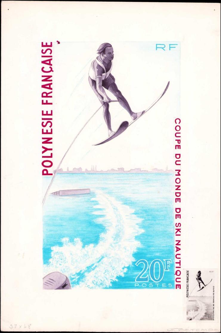 MAQ POLYNESIE - Poste - 87, Maquette Originale, (dessin Définitif - Horizon Différent), Gouache & Aquarelle (240 X 135)  - Polynésie Française