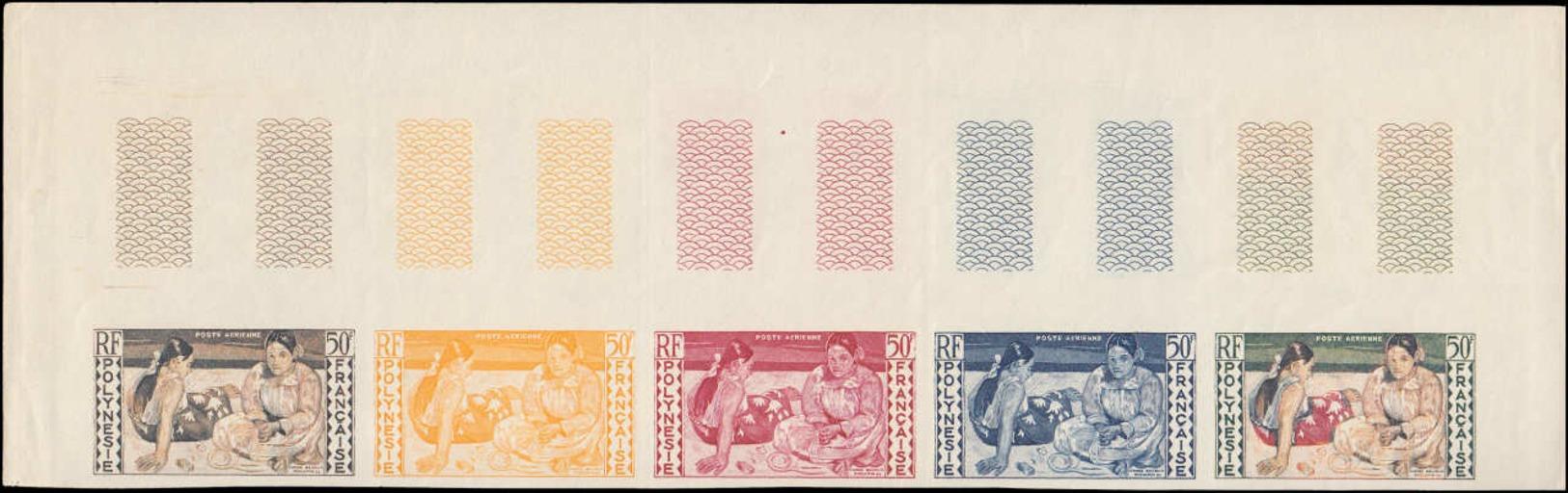 ** POLYNESIE - Poste Aérienne - 2, Bande De 5 Essais De Couleurs Dont Polychromes, Cdf: 50fr. Tahitiennes De Gauguin - Non Classés