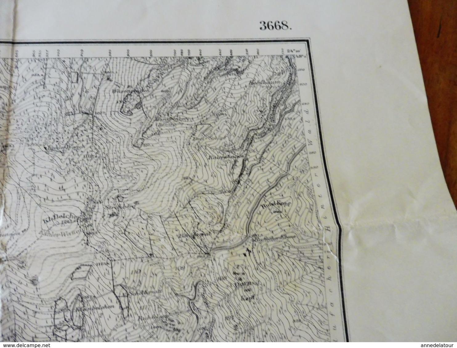 1886 Rare Carte De LAUTENBACH Filigrane PAPETERIE BERGES Suite Annexion ALSACE Par L'ALLEMAGNE (Hors-Tout = 64cm X 57cm) - Topographical Maps