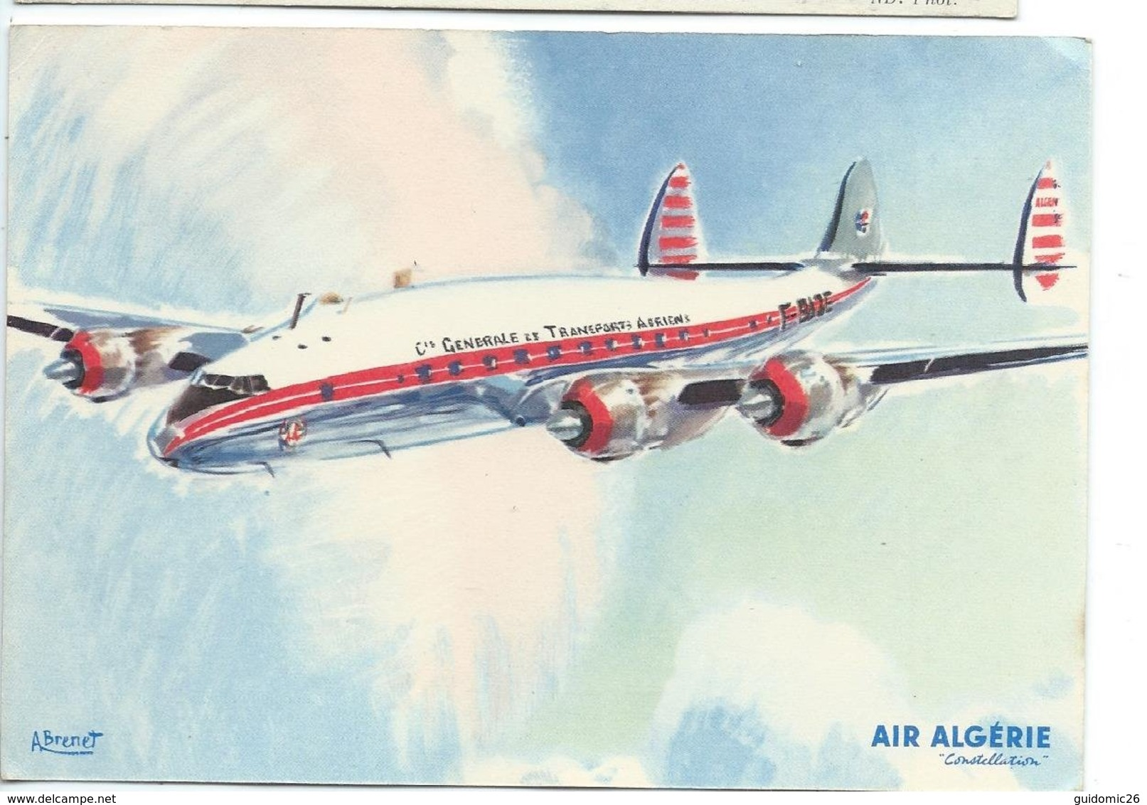 Air Algerie,constellation ,illustration Brenet - Airplanes