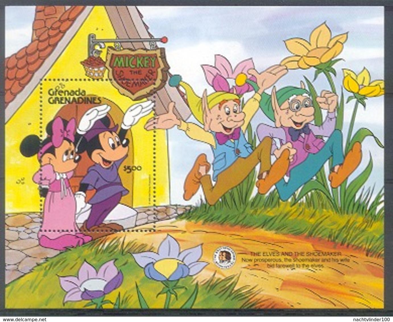 Mum448 WALT DISNEY MICKEY SCHOENMAKER BLOEMEN SHOEMAKER FLOWERS GEBR GRIMM GRENADA GRENADINES 1985 PF/MNH - Disney