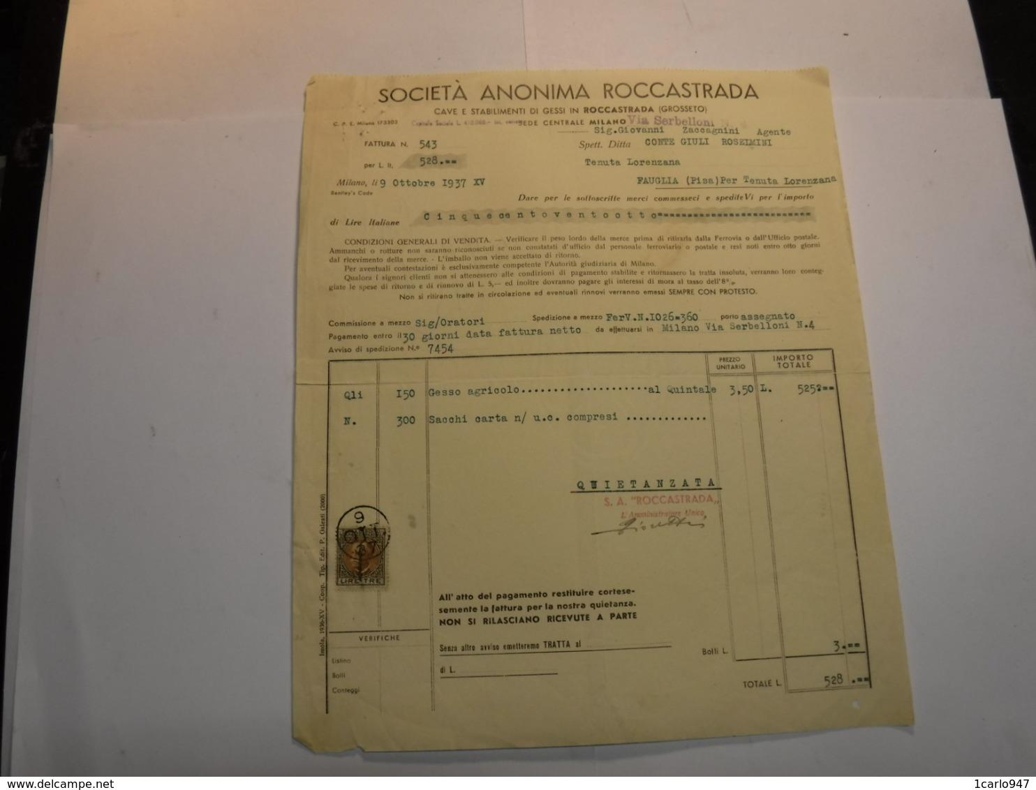 ROCCASTRADA  --GROSSETO   --- MINIERA  -MINERALI --- SOCIETA' ANONIMA ROCCASTRADA --GESSI - Italia
