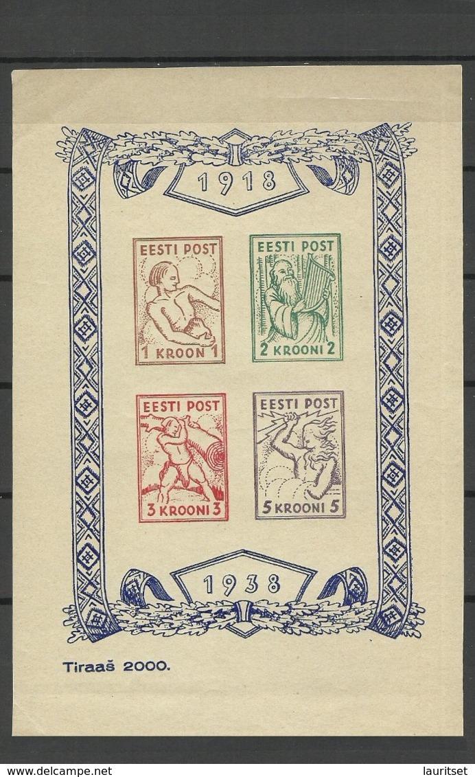 Estland Estonia 1938 Fantasy Block Themes From Estonian Mythologie MNH - Estland