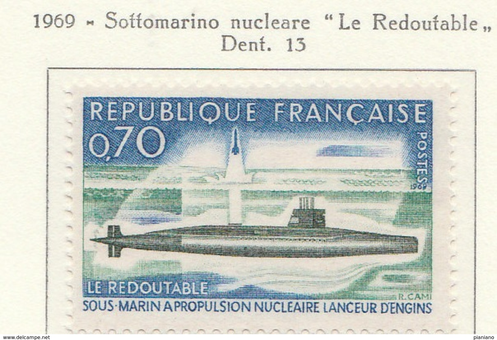 """PIA  - FRA - 1969 : Sottomarino Nucleare """"Le Redoutable""""   - (Yv  1615) - Submarines"""