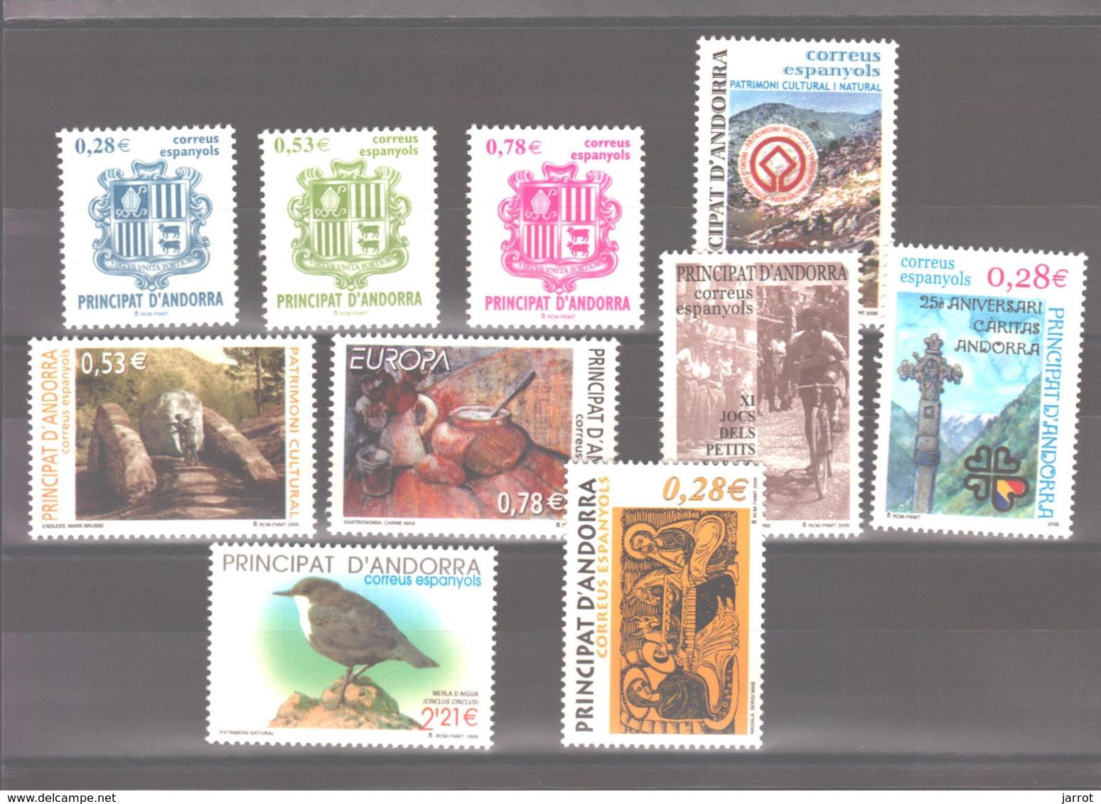 Année 2005 ** MNH N° 309 à 318 - Spanisch Andorra