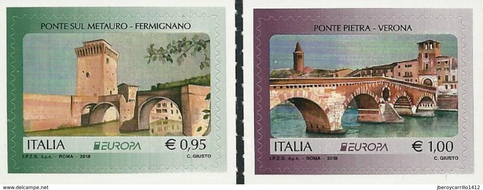 "ITALIA/ ITALY/ ITALIEN/ ITALIE -EUROPA 2018 - ""PUENTES.- BRIDGES - BRÜCKEN - PONTS"" - SERIE De 2 V. - 2018"