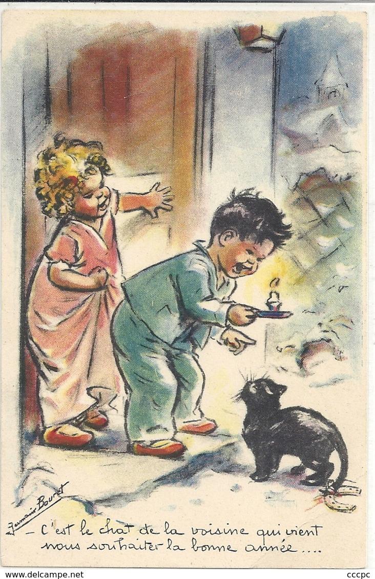 CPA Illustrateur Germaine Bouret C'est Le Chat De La Voisine Qui Vient Nous Souhaiter La Bonne Année - Bouret, Germaine