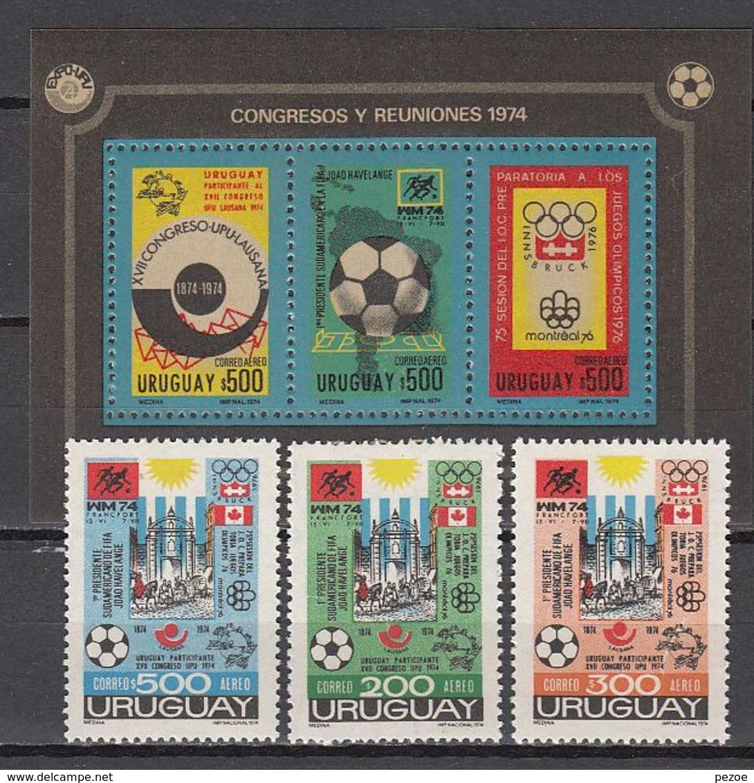 Football / Soccer / Fussball - WM 1974: Uruguay  3 W + Bl ** - Fußball-Weltmeisterschaft