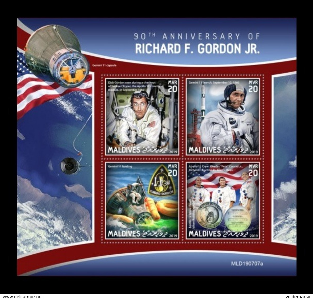 Maldives 2019 Mih. 8646/49 Space. Richard F. Gordon Jr. MNH ** - Maldives (1965-...)