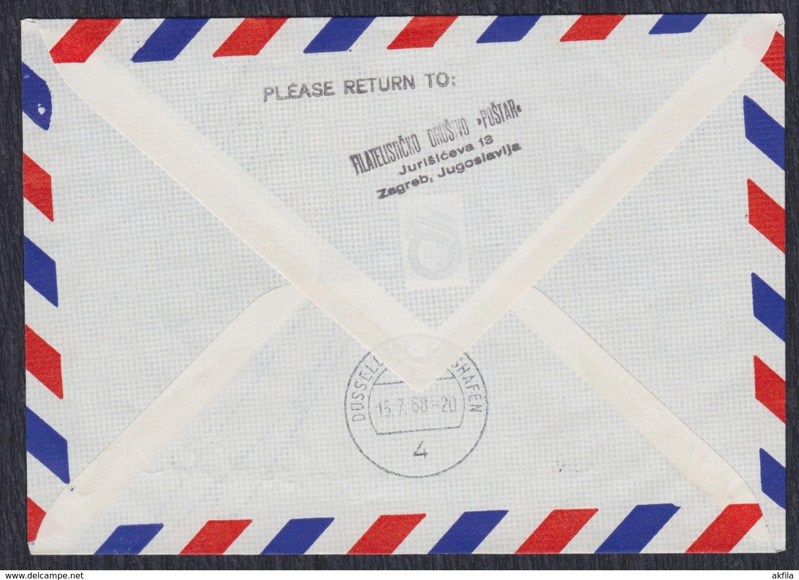 """Yugoslavia 1968 First Flight """"Lufthansa"""" Zagreb - Düsseldorf, Airmail Cover - 1945-1992 Sozialistische Föderative Republik Jugoslawien"""