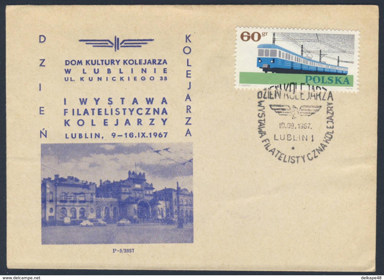 Poland Polska Polen 1967 Brief Cover – Philatelistische Ausstellung Der Eisenbahner In Kulturhaus Lublin / Exhibition - Treinen