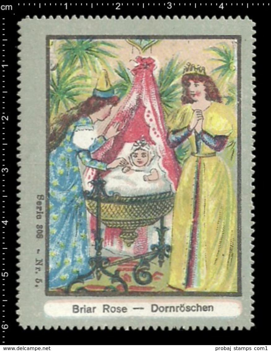 Old German Poster Stamp Cinderella Erinoffilo Reklamemarke Fairy Tales Märchen Sleeping Beauty Dornröschen, Kid Kind. - Fairy Tales, Popular Stories & Legends
