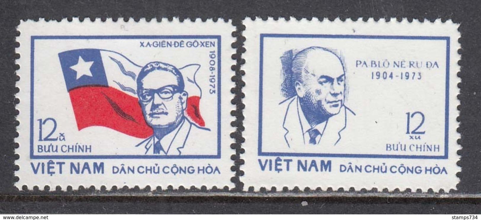 Vietnam Nord 1974 - Salvador Aliende And Pablo Neruda, Mi-Nr. 778/79, MNH** - Vietnam