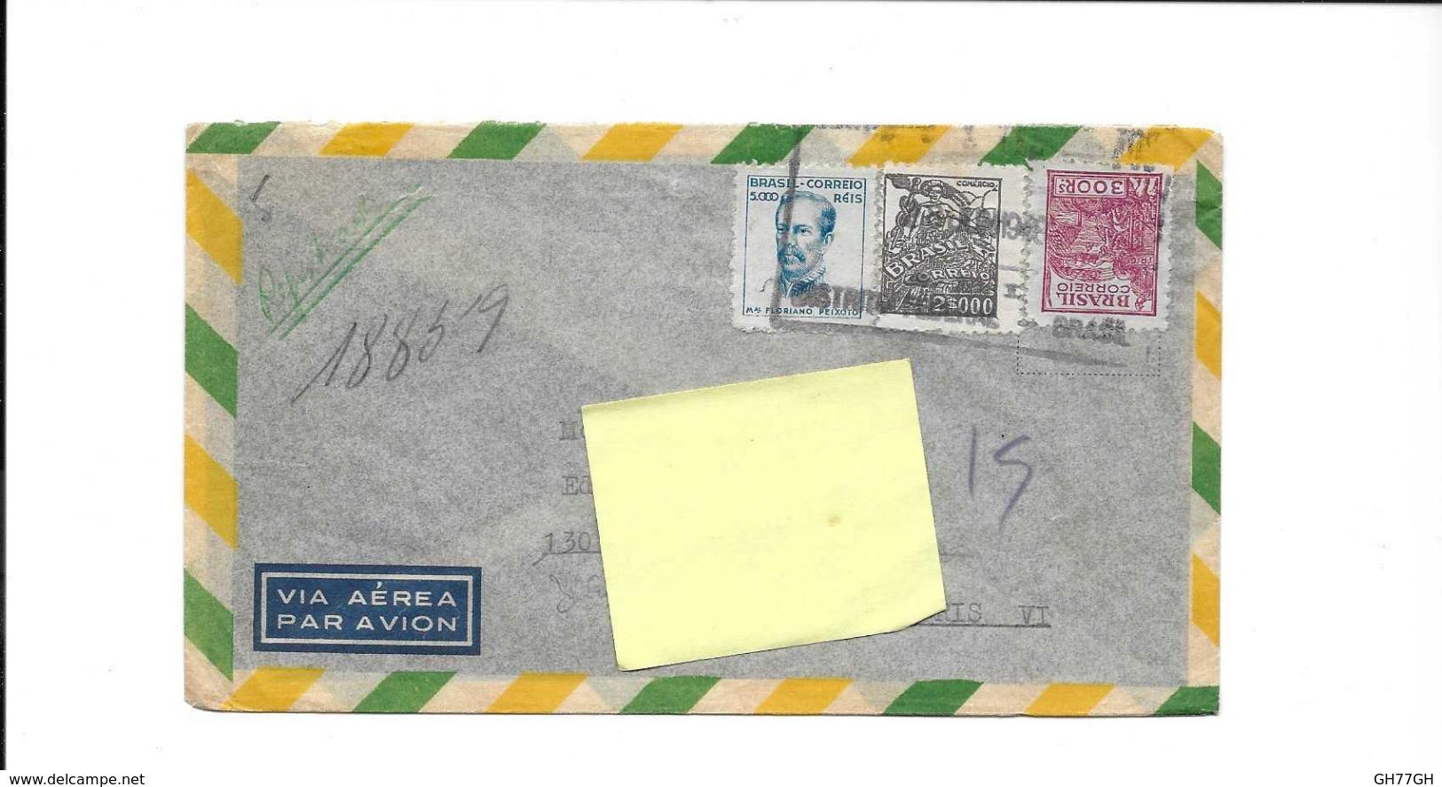 3 Timbres Brésil Sur Enveloppe Obl. 1948 - Brazil