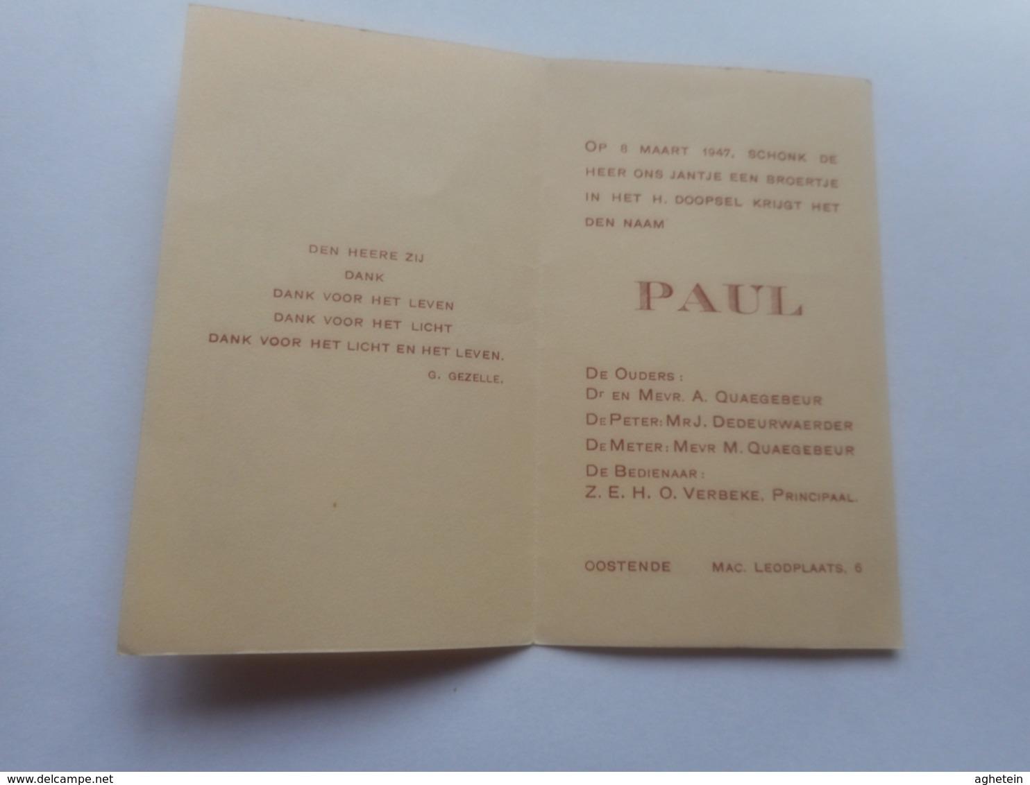DEVOTIE-ABBAYE DE  MAREDRET- GEBOORTEKAARTJE-PAUL - Religion & Esotérisme