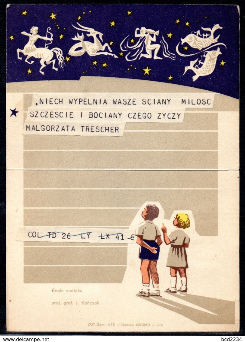 POLAND 1971 TELEGRAM SPECIAL OCCASION SIGNS OF THE ZODIAC DARK BLUE USED LX 17 TÉLÉGRAMME TELEGRAMM TELEGRAMA TELEGRAMMA - Astrología