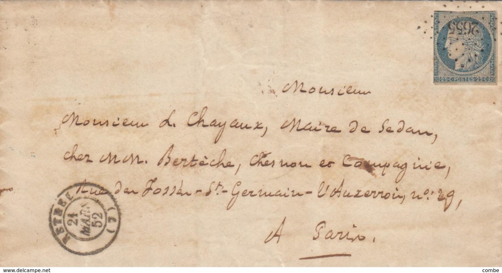 LETTRE. 24 MARS 52. N° 4a. CACHET MAIRIE DE RETHEL ARDENNES. PC 2655. POUR PARIS / 4657 - Marcofilia (sobres)