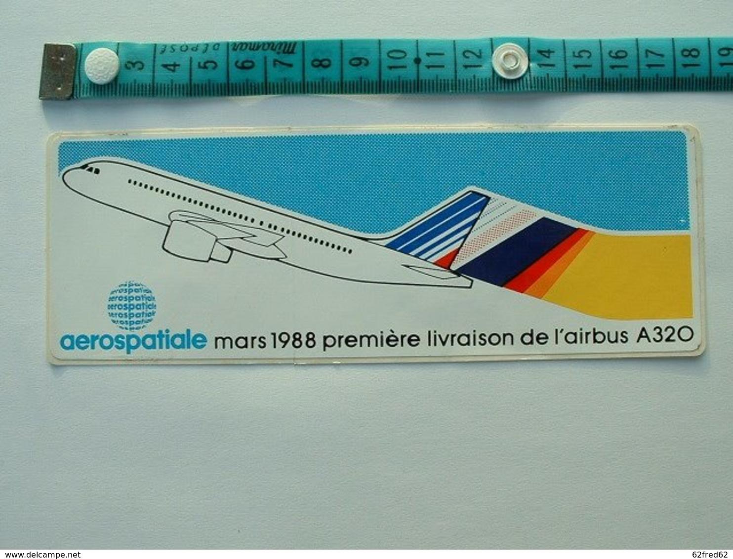 AUTOCOLLANT AEROSPATIALE - MARS 1988 PREMIERE LIVRAISON DE L'AIRBUS A320 - Aufkleber