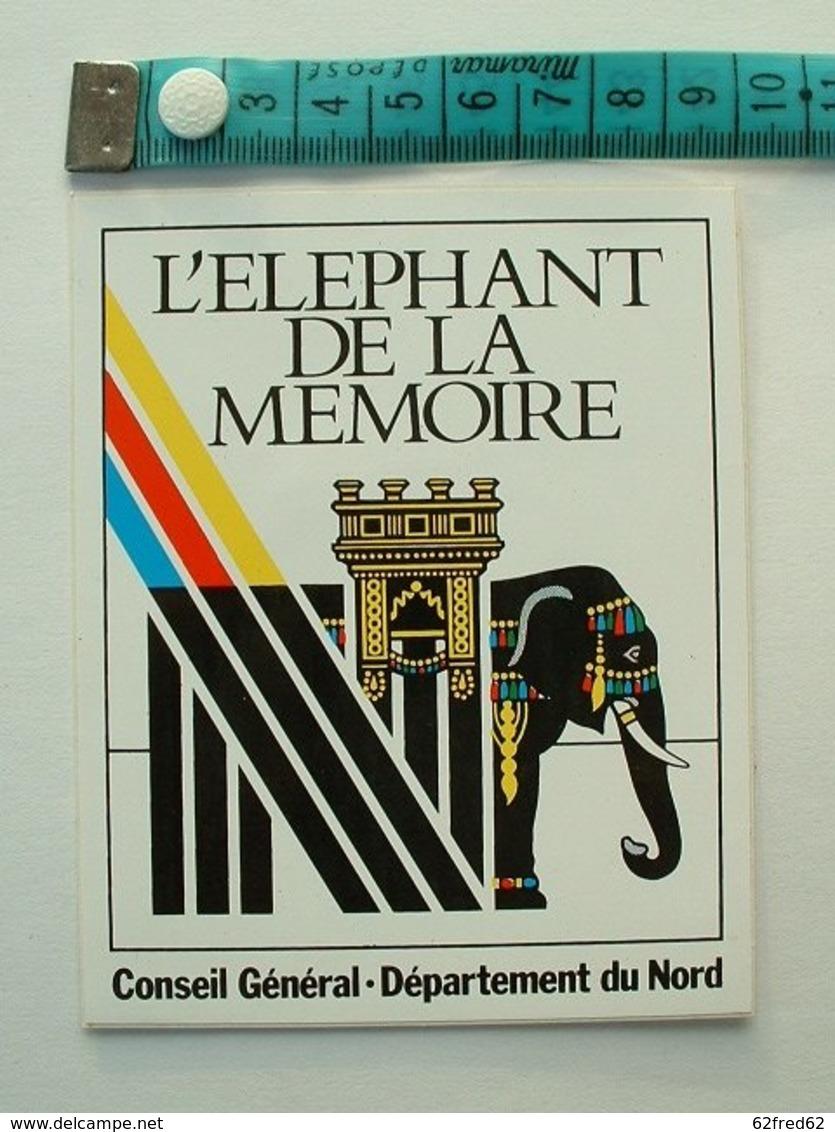 AUTOCOLLANT L' ELEPHANT DE LA MEMOIRE - CONSEIL GENERAL - DEPARTEMENT DU NORD - Aufkleber