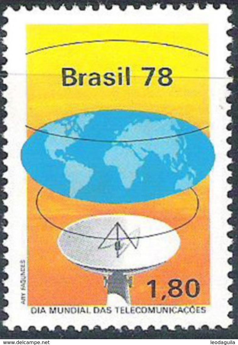 BRAZIL #1556 - INTERNACIONAL DAY OF  TELECOMMUNICATION    - SATELLITE ANTENNA 1978  MINT - Unused Stamps