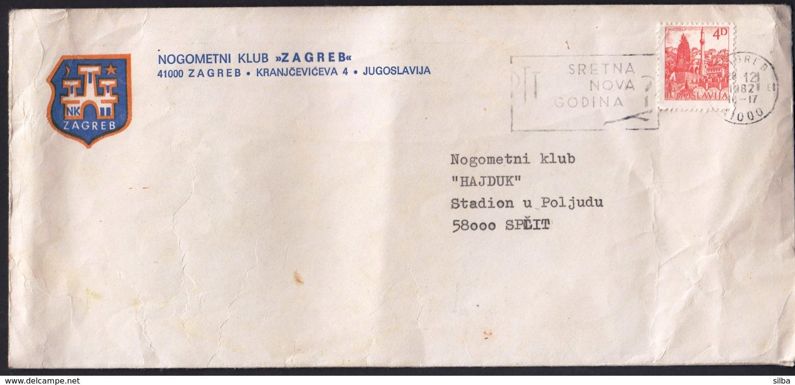 Yugoslavia Croatia 1982 / Footbal Club Zagreb To Football Club Hajduk, Split / Slogan Happy New Year - Equipos Famosos