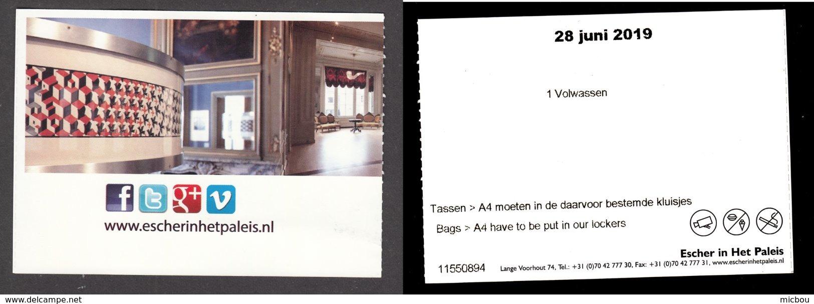 Pays-Bas, Nederland, Amsterdam, Billet D'entrée, Entrance Ticket, Musée Escher Museum - Tickets - Vouchers