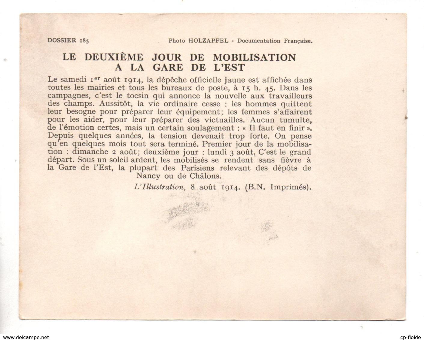 """MILITARIA. """" LE DEUXIÈME JOUR DE MOBILISATION GARE DE L'EST LE 3 AOÛT 1914 """" . FICHE HISTOIRE 1914/1918 - Réf. N°23089 - - Historia"""
