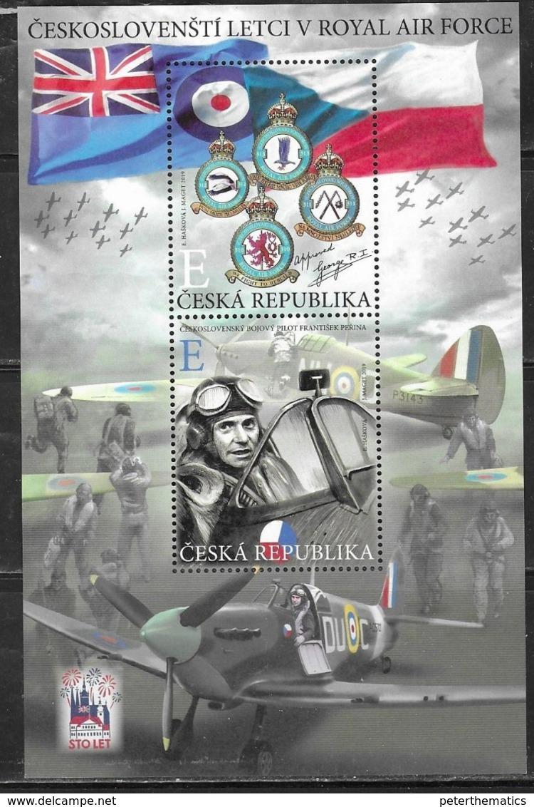 CZECHIA,  CZECH REPUBLIC, 2019, MNH, WWII, PLANES, FIGHTERS, CZECH PILOTS IN THE RAF, SHEETLET - WW2