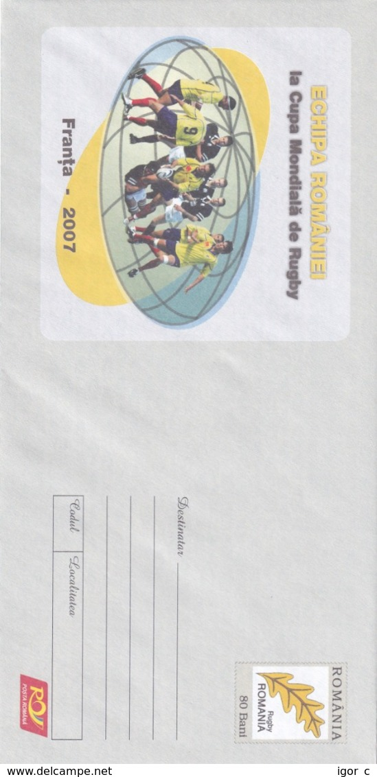 Romania 2007 Postal Stationery Cover: Rugby World Championship; Stade De France Paris - Rugby