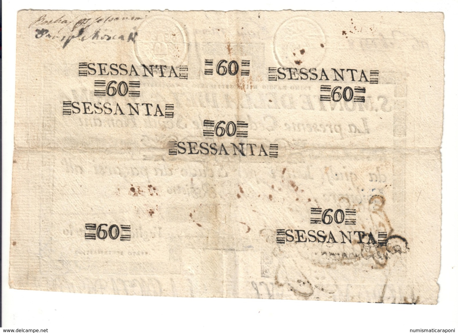 SACRO MONTE DI PIETA' ROMA 01 05 1797 60 SCUDI Ottimo Esemplare Bb/spl Taglietti  LOTTO 2490 - Italia