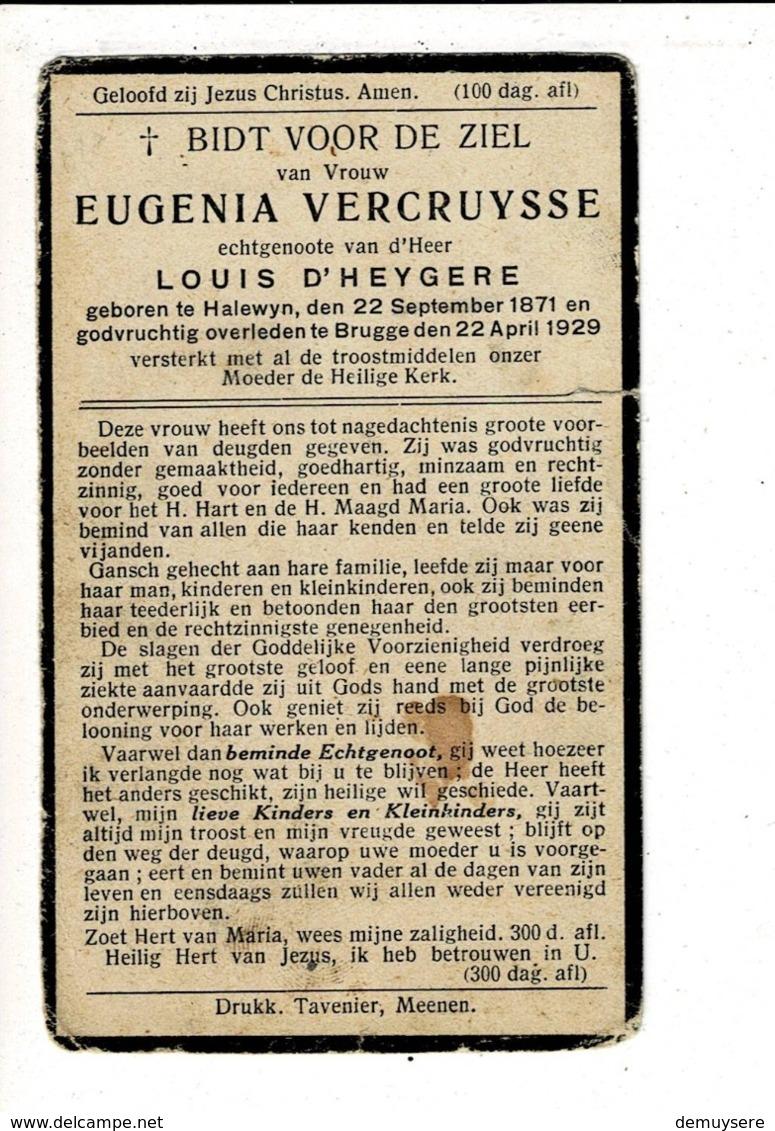 DP 8308 - EUGENIA VERCRUYSSE - HALEWYN 1871 + BRUGGE 1929 - Religion & Esotérisme