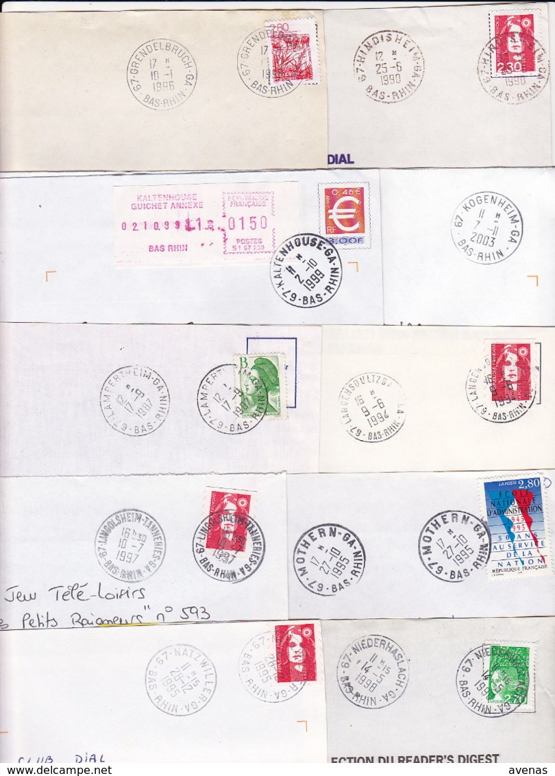 Lot Département 67 BAS RHIN : 43 Plis TàD Manuel & SECAP De GA AN Guichet Annexe APC Agence Postale Dont Strasbourg ... - 1961-....