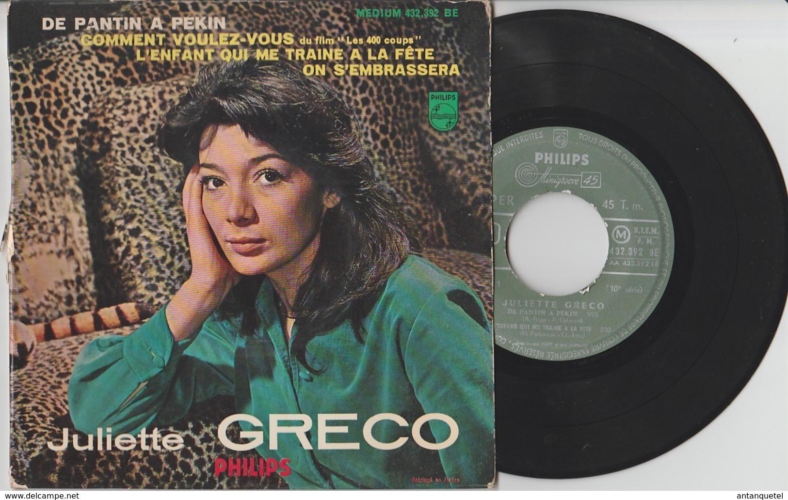 Disque Vinyle 45 Tours—Juliette Gréco—De Pantin à Pékin—432 392 BE—1960 - 45 Rpm - Maxi-Singles