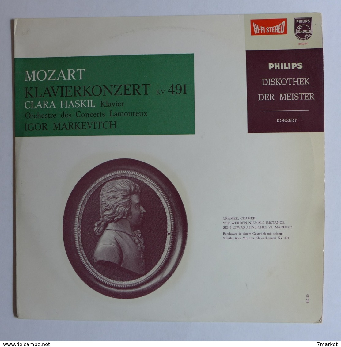 LP/ Mozart - Klavierkonzert KV 491 / Clara Haskil , Igor Markevitch, Orchestre Des Concerts Lamoureux - Classical