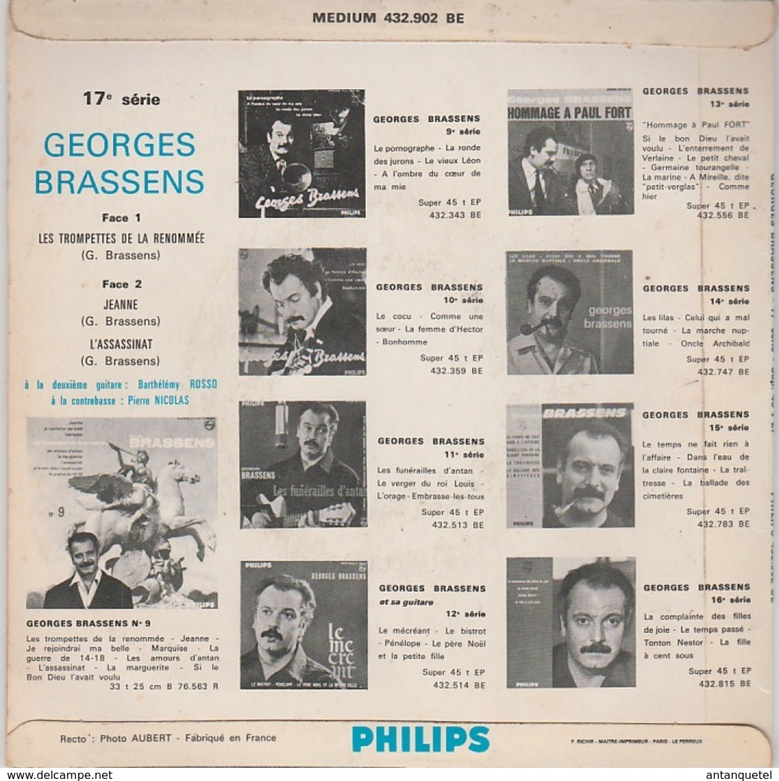 Disque Vinyle 45 Tours—Georges Brassens—Les Trompettes De La Renommée—1963 - 45 Rpm - Maxi-Singles