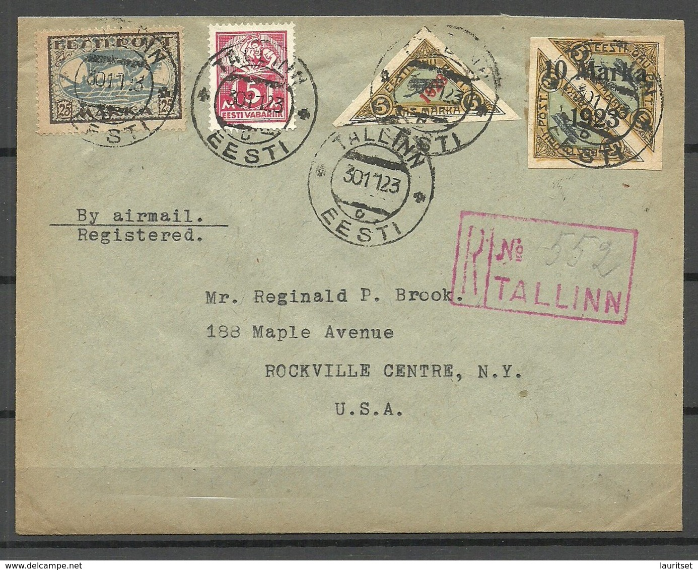 Estland Estonia 1923 Flugpost Air Mail To USA New York Michel 43 B & 42 B &  23 A Arrival Cancels Backside - Estland